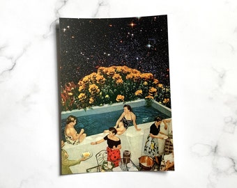 Universer stars print - Swimming pool party art - Summer print - Small A6 print postcard