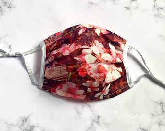 Pink face mask, Floral face mask, cherry blossom face mask UK,  reusable face mask, unique face masks