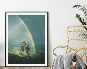 Rainbow print, Large print, Large wall art,  extra large wall art, large wall print, Hallway art, Livingroom art