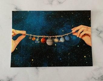 Solar system print - Planets print - Small art print postcard
