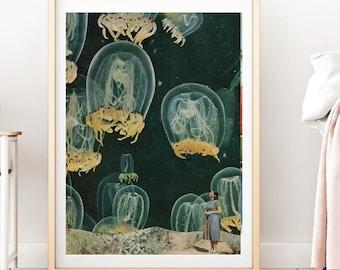 Jellyfish print, jellyfish art, Blue Jellyfish Decor, Jellyfish Bathroom Art, Blue Ocean Decor, Marine Biology Art Poster