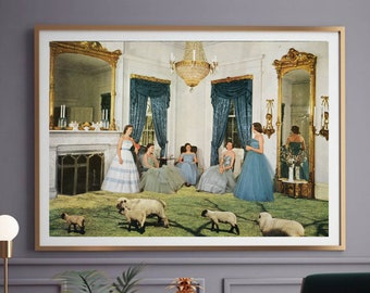 Extra large wall art, Vintage modern print, Nature sheep art, Living room large poster