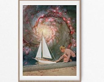 Sailing boat print - Universe ocean art - Nursery boat print