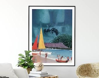 Large wall art,  extra large art, 30 x 40, 20 x 30, 45 x 30 prints, retro print, beach print, sea , ocean, divers
