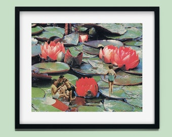 Summer print,  Pool Art Print, Waterlilies print, red and green print, nature prints, beach decor, beach art, seaside, holiday