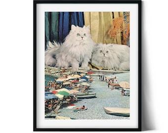 Cat print wall art, Cat love gift, White cat print, Retro prints, Moden art