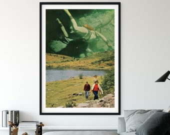 Divers print, ocean art, sea prints, underwater, Unique wall art, wall art decor, nature art, collage art