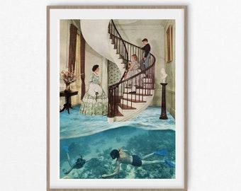 Art print, vintage retro art, divers gift, wall art prints, wall decor, sea prints, sea posters, large prints, fine art