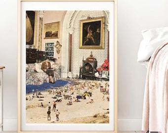 Wall art prints, Mid century art, retro  vintage posters, beach print, beach decor, modern prints