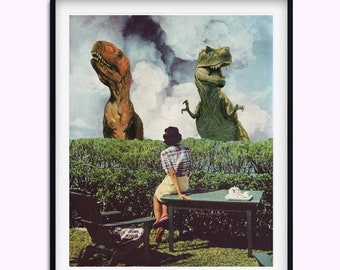 Dinosaur Print, Dinosaurs, Dino poster, Vintage inspired, Retro, Dinosaur lover gift, Wall art decor