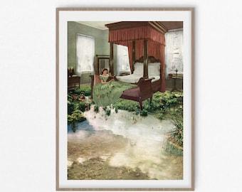 Garden prints, lake print wall art, floral print, bedroom art, vintage poster, bedroom prints, 1960s print
