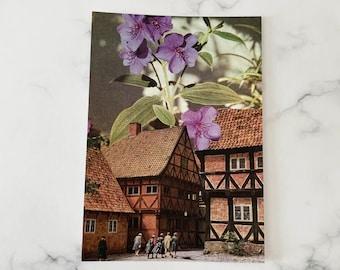 Lilac flowers art print - Architecture art - Vintage prints - Small A6 print