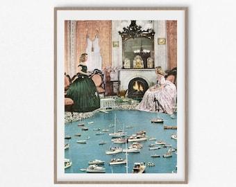 Boat print, Sailing gift, Boat wall decor, vintage poster, retro prints, modern art, sea decor