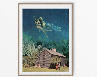 Sea print, underwater art, sea creatures poster, underwater print, coral print, sea life, diving, home, gift idea