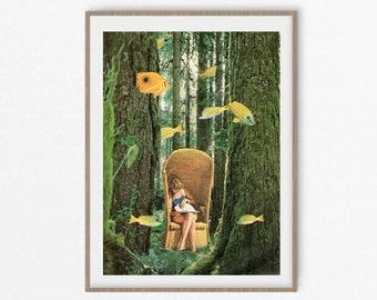 Fish print, Fish art, Wood wall art, Book worm gift, green print, nature art, large prints, tree prints
