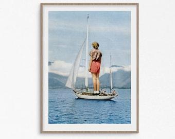 Boat print, sea prints, blue poster, Wall Art, Boat, Coastal Art, Sailing Print, Blue Decor, Coastal, Prints, Wall Decor, Wall Art Prints