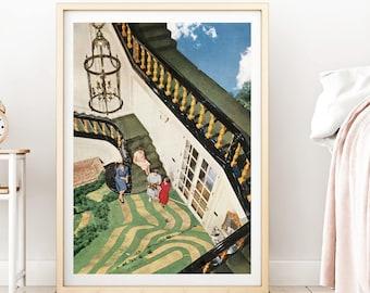Nature wall art, nature prints, architecture art, house warming gift, retro prints, mid century art, collage art, unique prints
