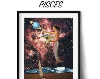 Pisces print, Zodiac, Birthday gift, Astrology, Star Sign, Art Print, Poster, Boho Decor, Living Room, Bedroom