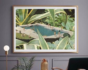 Swimming pool print, Summer art, Botanical print, Large wall art, extra large wall art, large wall print, Hallway art, Livingroom art