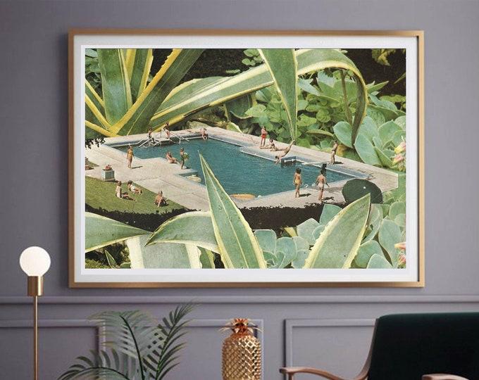 Featured listing image: Swimming pool print, Summer art, Botanical print, Large wall art, extra large wall art, large wall print, Hallway art, Livingroom art