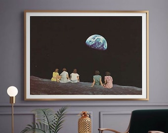 Extra large living room art print - Large space print - Earth and Moon art