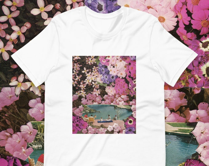 Featured listing image: Pink floral tee - Short-Sleeve Unisex T-Shirt - Tshirt for her or him