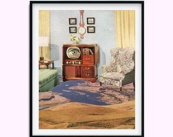 Landscape print, Desert illustration, Blush Beige Wall Art, Bedroom, Kitchen, Living Room Art, 8x10/A3/12x16/16x20