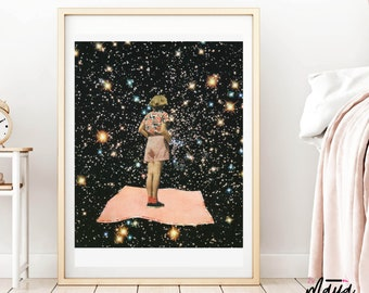 Universe prints, Girly art, Gift for her, Space poster, Flying , Wall Decor, Wall Art Prints