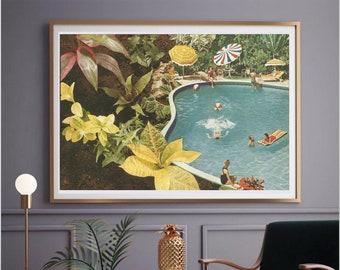 Large art print, Extra large prints, Wall art decor, Swimming pool print, Botanical art, plants art