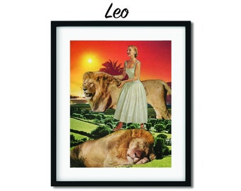 Leo print, Zodiac poster, Birthday gift,Astrology prints, Lion art
