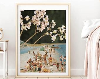Blossom print, Cherry blossom, Spring decor, Beach print