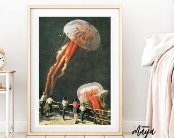 Jellyfish print, Ocean art, Jellyfish, Sea print, A4 poster, A3 print, Large wall art