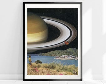 Saturn print. Sci fi art, Universe space poster