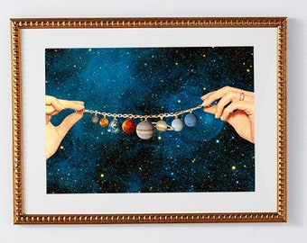 Solar System Print - Poster art - Planet Poster - Surreal art Universe