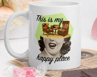 Retro mug, Happy place mug, Coffee and tea mugs, Gift idea