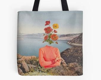 Floral tote bag , Medium shopping bag, Reusable bag, Gym, work etc
