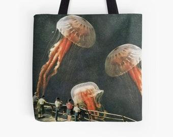 Jellyfish tote bag , Medium shopping bag, Reusable bag, Gym, work etc