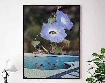 Large swimming pool art print , Floral art, Extra large prints, Big modern art , Large artwork