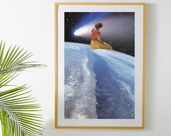 Large art print - Earth print - On top of the world - Extra large wall art