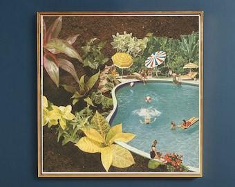 Tropical print, tropical wall art, tropical leaf print, tropical poster, square print, swimming pool print, summer print
