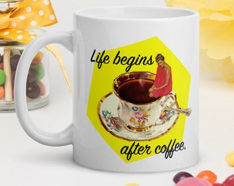 Coffee mug, Ceramic mug for her, Coffee lover gift