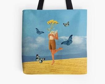 Summer tote bag , Medium shopping bag, Reusable bag, Gym, work etc