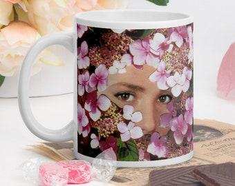 Pink coffee tea mug, Gift for her, Coffee lover gift idea, Ceramic mug