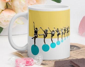 Retro yellow mug, Ceramic coffee tea mugs, Friends gift, Birthday gift idea for her