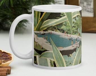 Swimming pool mug, Botanical gift, White glossy mug