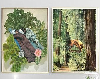 Print Set of 2, Plant Prints, Leaf Wall Art, Botanical Art, Bedroom Wall Decor, Cactus Prints, Set of 2, botanical print set