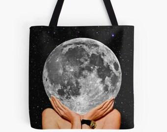 Full moon tote bag , Medium shopping bag, Reusable bag, Gym, work etc