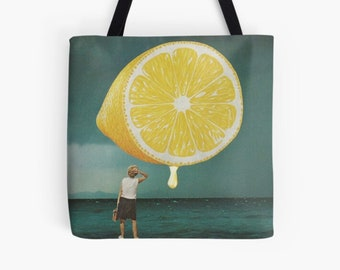Lemon tote bag , Medium shopping bag, Reusable bag, Gym, work etc