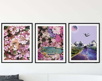 Pink prints, Set of 3 prints pink, Girly wall art, print set of 3 pink, gift for her,