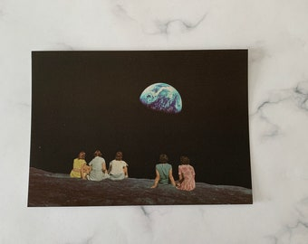 Small art print - Best friends gift - Outsiders -Moon Earth print